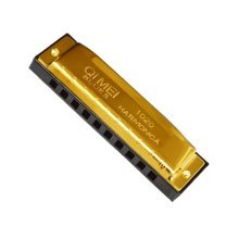Golden Color coverplate Blues Mouth organ 10 Hole Key of C black Harmonica