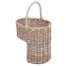 Wicker Oval Stair Basket with High Handle in Kooboo Grey