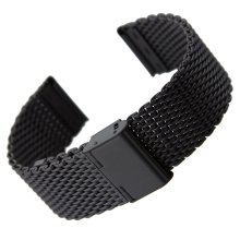 Geckota® Classic Milanese Mesh Stainless Steel Watch Strap IP Black, 22mm