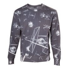 Star Wars Adult Male Imperial Fleet TIE Fighters Sublimation Sweater M - Grey