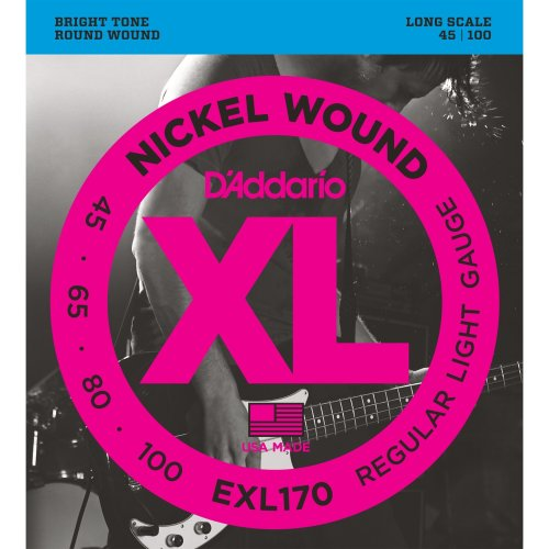 D'Addario EXL170 XL Nickel Wound Regular Light  (.045-.100) Electric Bass Guitar Strings