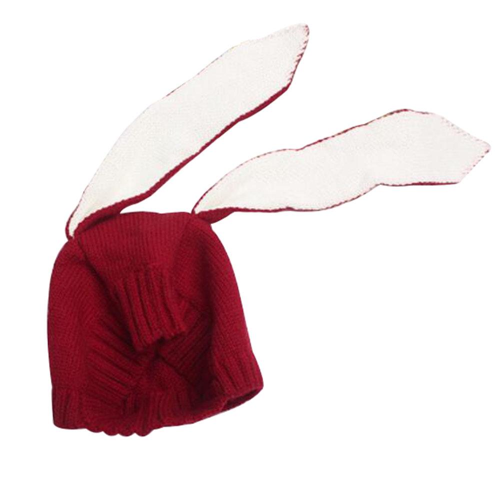 fbb72c2089c Baby Boys Girls Keep Warm Head Cap Winter Hats Knitted Hats Rabbit Ears Hat-A1  ...