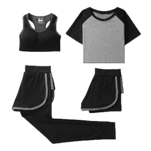 Women Gym Outfit Workout Sports 4 Piece Sets Running Clothing