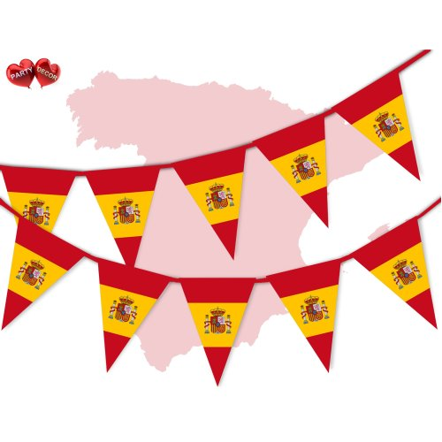 Spain Full Flag Spanish Themed Bunting Banner 15 Triangle Flags On Onbuy