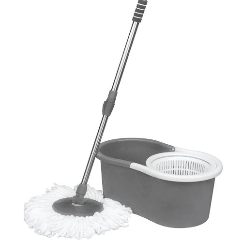 360° Floor Grey Spin Mop Bucket Set Spinning Rotating With 3 Cleaning Dry Heads