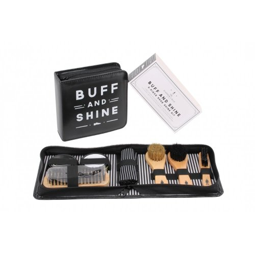 Mens 8pc Dapper Chap Black and Neutral Shoe Shine Polish Buff Cleaning Kit & Case Gift