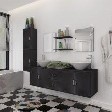 vidaXL Nine Piece Bathroom Furniture and Basin Set Black