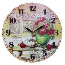 Obique Home Decoration MDF Flower Vase & Greek Scene Wall Clock 34cm