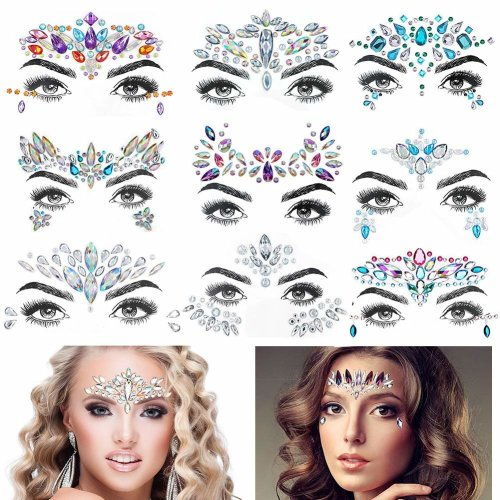Face Gems, 9 Pcs Women Face Jewels Crystal Face Glitter Rhinestone Bindi Temporary Tattoo Face Eyebrow Body Stickers for Rave Festival Party