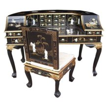 Chinese Black Desk & Chair - Lacquer Mother of Pearl Furniture