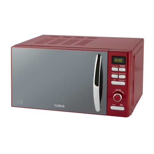 Tower T24019R Infinity Digital Solo Microwave with Mirror Door, 800 W, 20 liters, Red