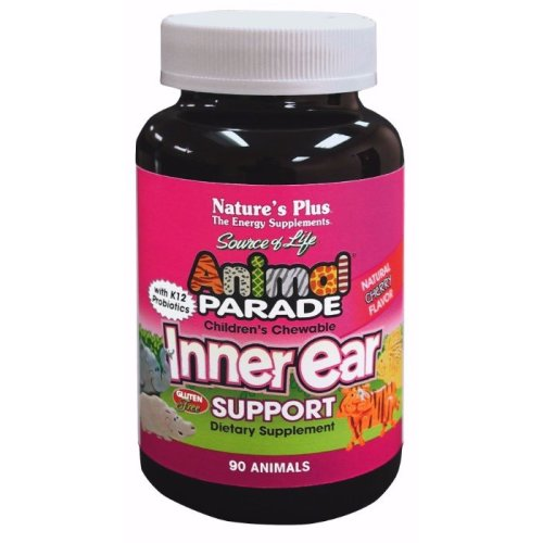 Natures Plus Animal Parade Children's Chewable Inner Ear Support with K12 probiotics - Natural Cherry Flavour , 90