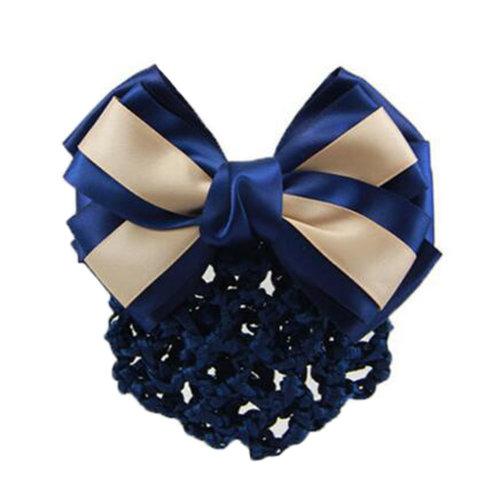 Elegant Ladies Hairnet Bowtie Barrette Hair Clip Snood Net Professional Hairdressing, F