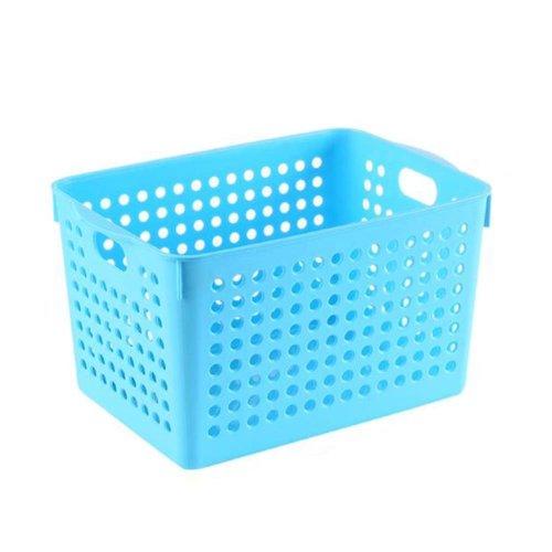 Closet Shelves Organizer Bins Plastic Storage Organizing Basket Set of 2 ?Blue?
