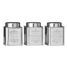 3pc Stainless Steel Canister Set | Tea, Coffee & Sugar Tins