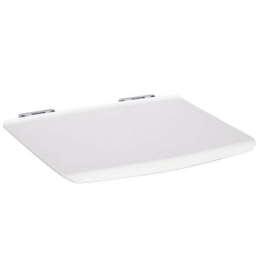 kleankin Wall-Mounted Folding Bathroom Shower Bath Seat Aluminum Frame White Bench 33.8L x 35 W (cm)