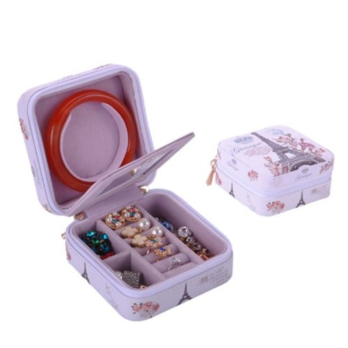 Small Jewelry Box Rings Earrings Necklace Organizer Display Storage Case for Travel, H