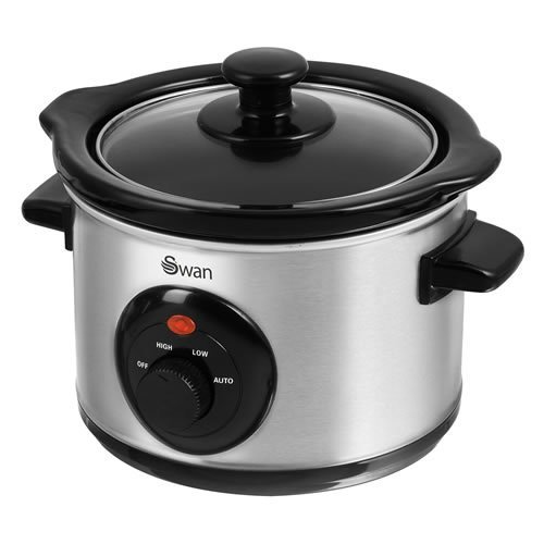 Swan Stainless Steel Slow Cooker 1.5 Litre - Silver (Model No. SF17010N)