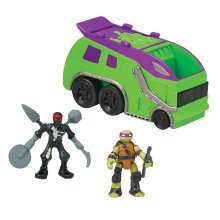 "Teenage Mutant Ninja Turtles Micro Mutant Garbage Truck with 1.15"" Super Ninja Donatello and Robotic Foot Soldier Figures and Vehicle"