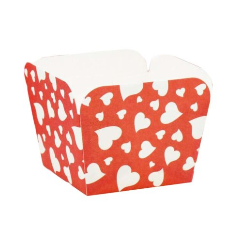 100 Pcs Heat-resistant Cupcake Paper Baking Cup Square Muffin Cup, Red Heart