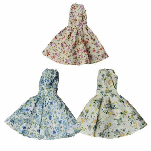 Random Color Doll Clothes Floral Dress for 30 cm Doll, 3 Pieces