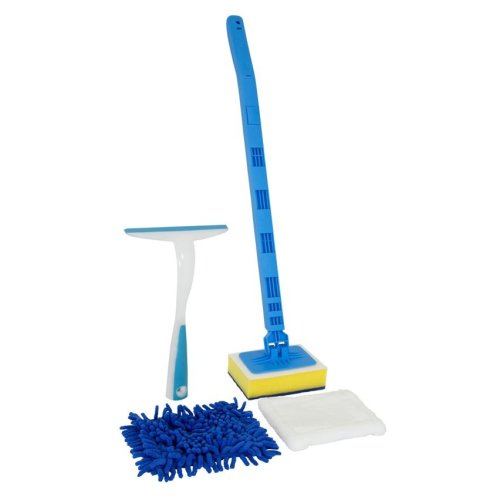 Telescopic Bathroom Tile Shower Cleaner Microfibre Mop Squeegee with Extending Handle Easy Reach Aid Pole