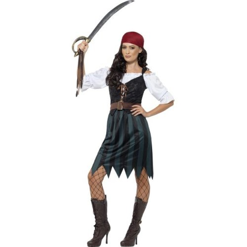 Women's Pirate Deckhand Costume -  pirate costume deckhand fancy dress ladies outfit adults caribbean uk 822 women