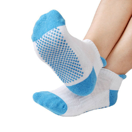 Yoga Non Slip Socks Pilates Breathable Cotton Socks with Grips, Blue