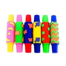 Set of 6 Colorful Kids Early Learning Sponge Painting Brushes
