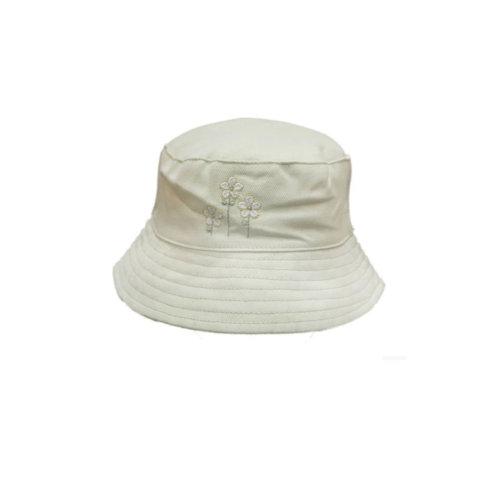 Girls Cotton Sun Bucket Newborn Hat White