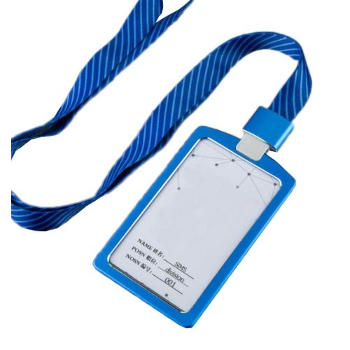 Aluminum Alloy Vertical Style ID Card Badge Holder with Neck Lanyard Strap 3PCS, 32