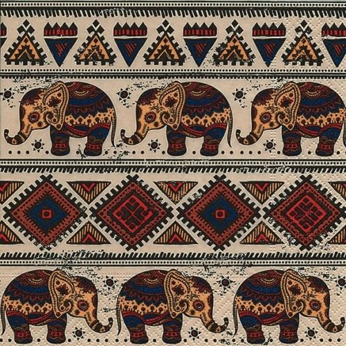 4 x Paper Napkins - African Pattern - Ideal for Decoupage / Napkin Art