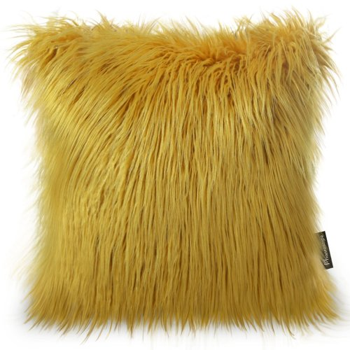 "Phantoscope Luxury Mongolian Faux Fur Throw Pillow Case Cushion Cover 18"" x 18"" (Yellow)"