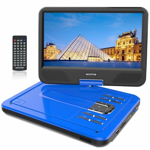 """WONNIE 12.5"""" Portable DVD Player with 10.5 inches 270° Swivel Screen Built-in Rechargeable Battery SD Card and USB, Direct Play in Formats..."""