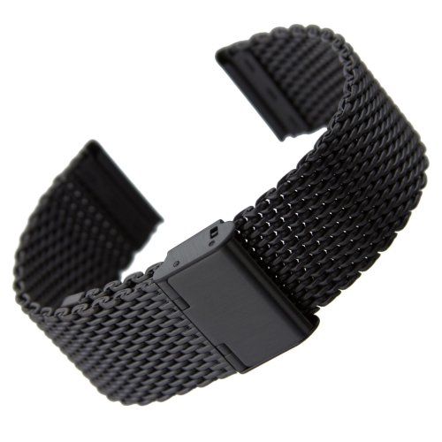 Geckota® Classic Milanese Mesh Stainless Steel Watch Strap IP Black, 22mm