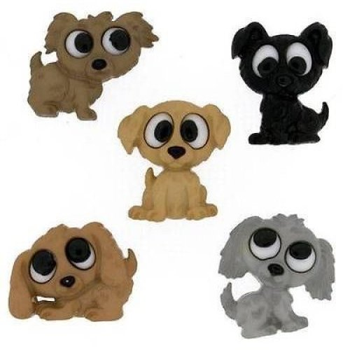 Playful Puppies -Novelty Craft Buttons & Embellishments by Dress It Up