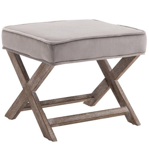 HOMCOM Vintage Footstool Padded Seat X Shape Chair Velvet Cover Shabby Chic Footrest Solid Rubber Wood 49.5L x 45W x 41H(cm) Grey