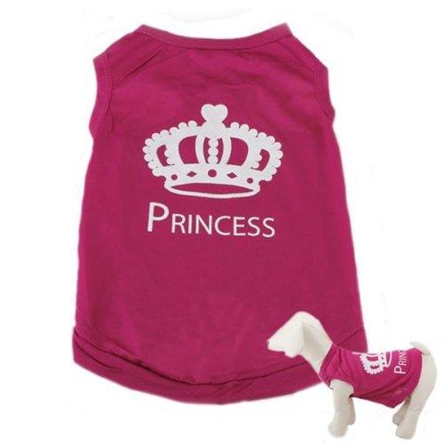 Summer Pet Puppy Dog Vest Princess T-shirt Rose Pink Printed Vest