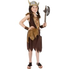 Smiffy's Children's Viking Girl Costume, Dress & Wristcuffs, Ages 7-9, Colour: -  viking costume fancy dress girls outfit book warrior child saxon day