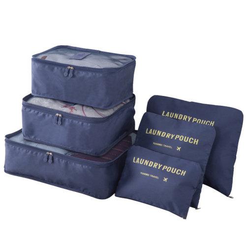 Miss Lulu 6Pcs Clothes Underwear Socks Packing Travel Luggage Organizer Bag Cube Storage Navy