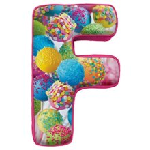 "iscream Luscious Letters! F Initial 16"" x 9.25"" Photoreal Fleece-Backed Microbead Pillow"