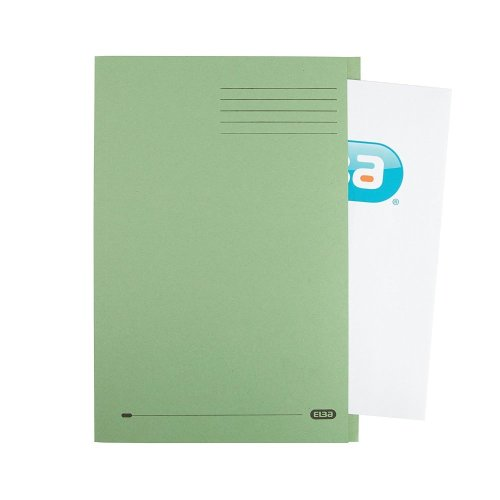 Foolscap Green Pack 100 Elba Square Cut Folder Recycled Lightweight 285gsm Document Files