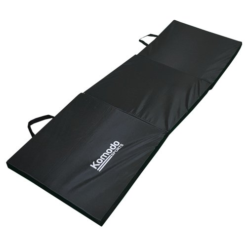 Tri Fold Folding Exercise Class Mat Gym Train Workout Padded Pilates - Black