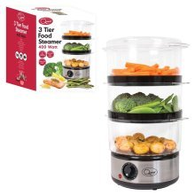 Quest 3 Layer Stainless Steel Compact Food Steamer with Rice Bowl, 6 Litre