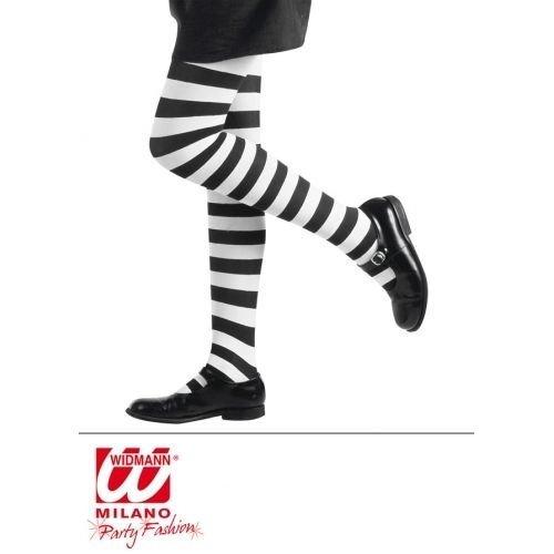 Girls Black /& White Stripe Tights Witch Halloween Fancy Dress