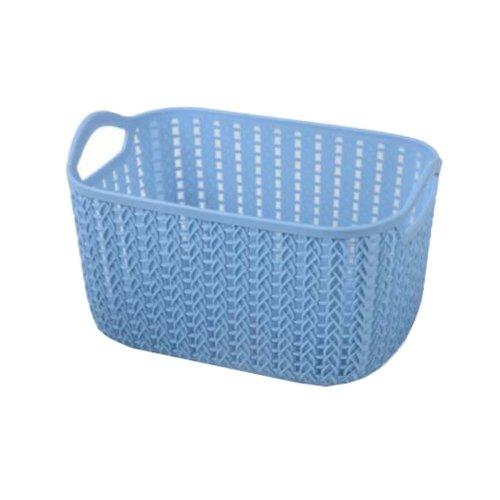 Plastic Woven Storage Basket Box Portable Bathroom Cosmetic Organizer Blue