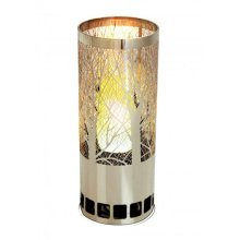 Silk Flame Effect Lamp - Round Foresr Brazier in Silver
