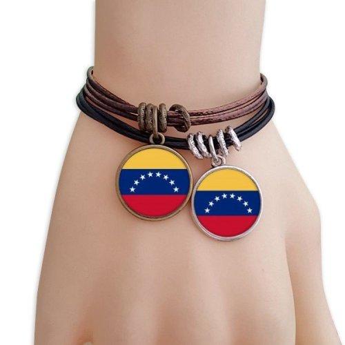 Venezuela National Flag South America Country Bracelet Double Leather Rope Wristband Couple Set