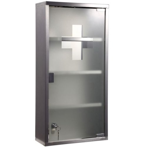 Homcom 4-Tier Lockable First Aid Cupboard | Wall-Mounted Medicine Cabinet