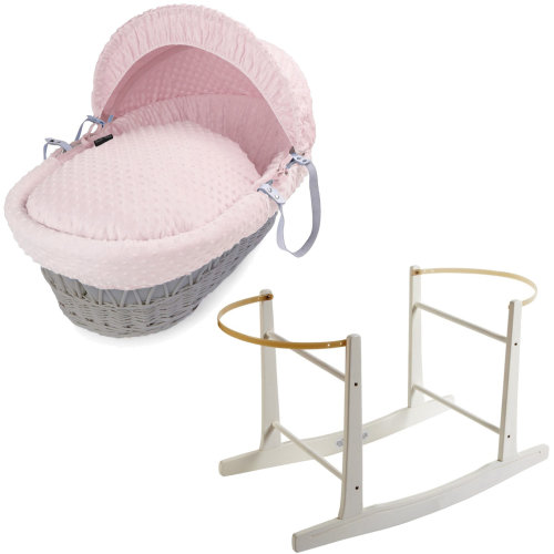 Grey Wicker Pink Dimple Moses Basket With White Rocking Stand